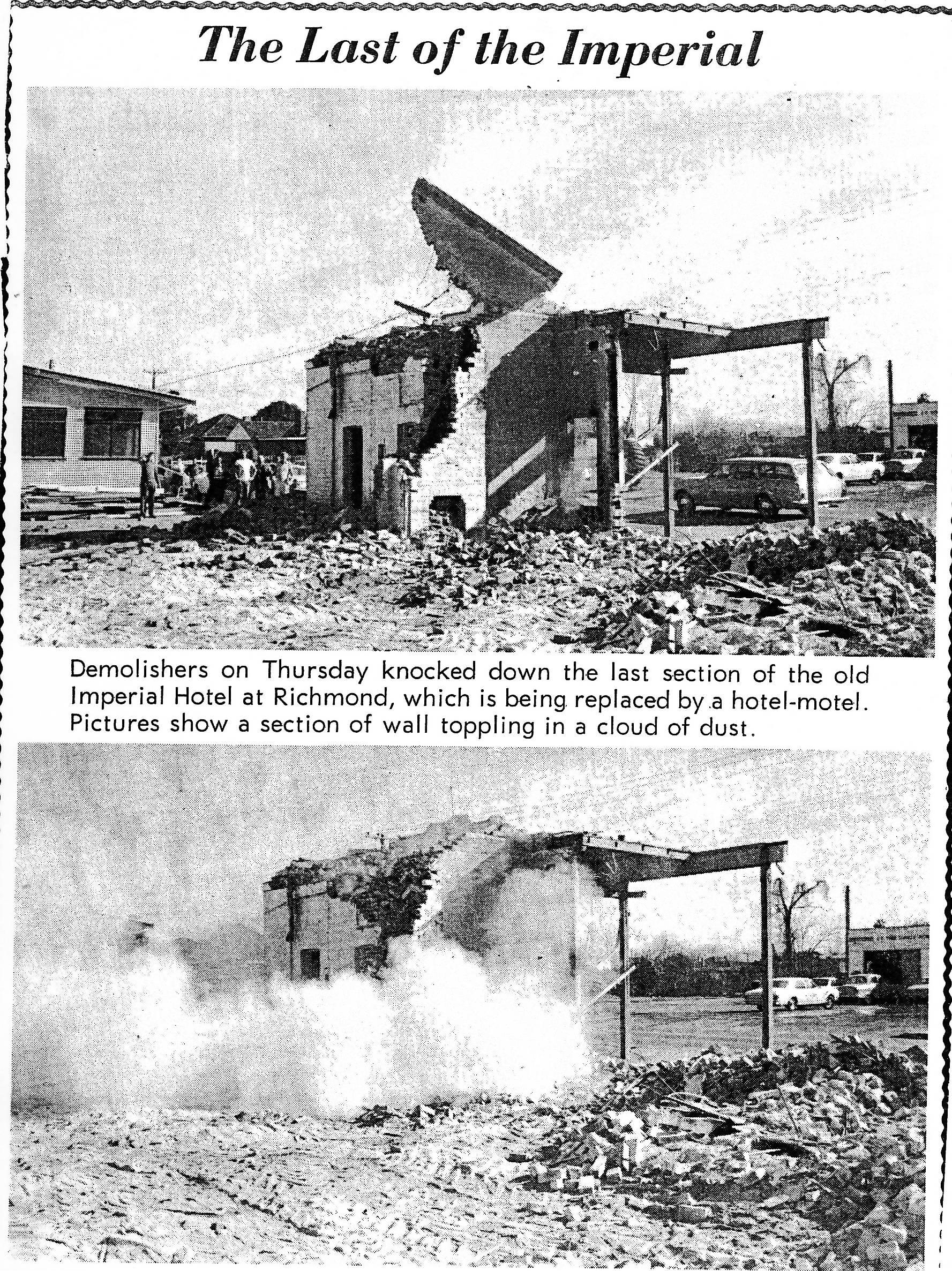 Demolishing the Imperial Hotel Richmond NSW